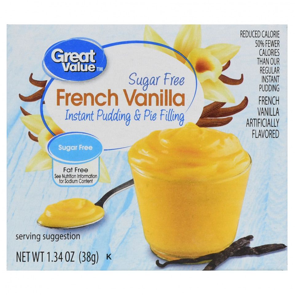 Great Value Instant Pudding & Pie Filling, Vanilla, Sugar Free, 1.34 oz (38GR)
